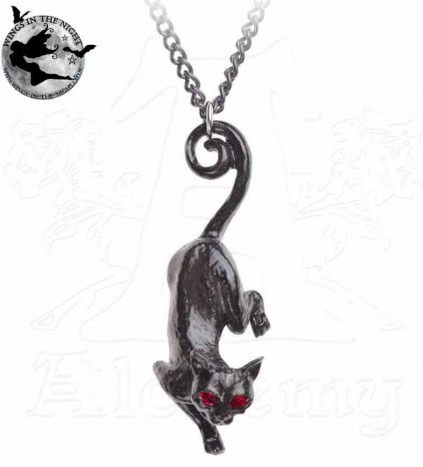 ALCHEMY GOTHIC Cat Sith Black Necklace